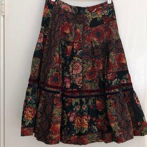 Zara Corduroy Floral/Paisley Midi Skirt